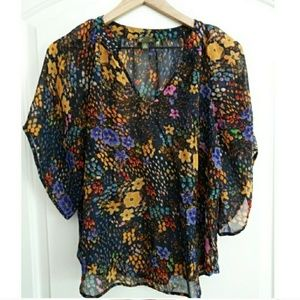 Anthropologie FEI Floral Sheer Blouse!